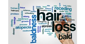 word bubble with hair loss related terms
