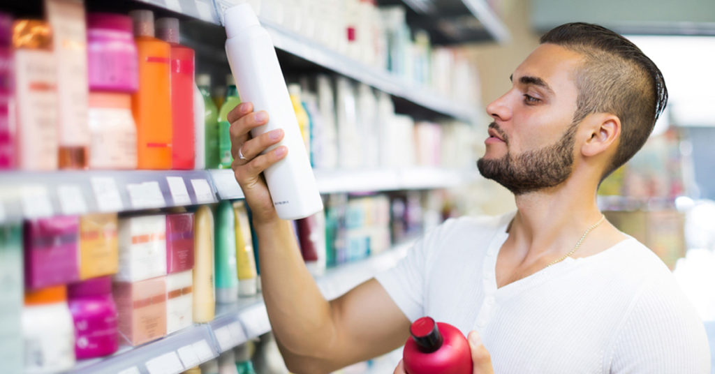 Man shopping for hair products